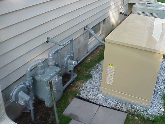 installing a standby generator rochester ny usa side view meter regulators and generator
